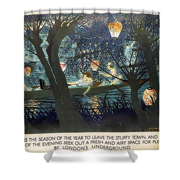 Now Is The Season Of The Year To Leave The Stuffy Town - London Underground - Retro Travel Poster Shower Curtain