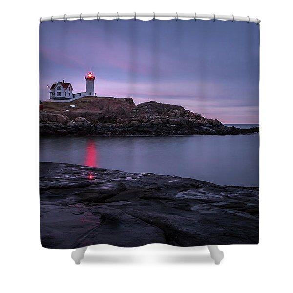 Nubble Light Blue Hour Shower Curtain