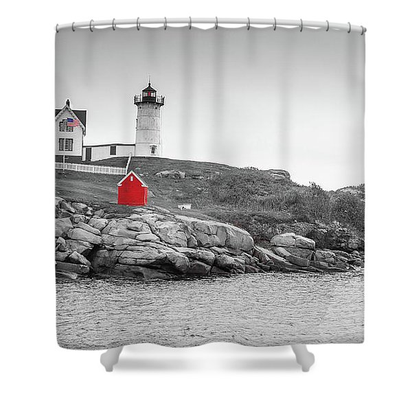Nubble Lighthouse In Color And Black And White Shower Curtain