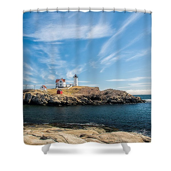 Shower Curtain featuring the photograph Nubble Lighthouse With Dramatic Clouds by Nancy De Flon
