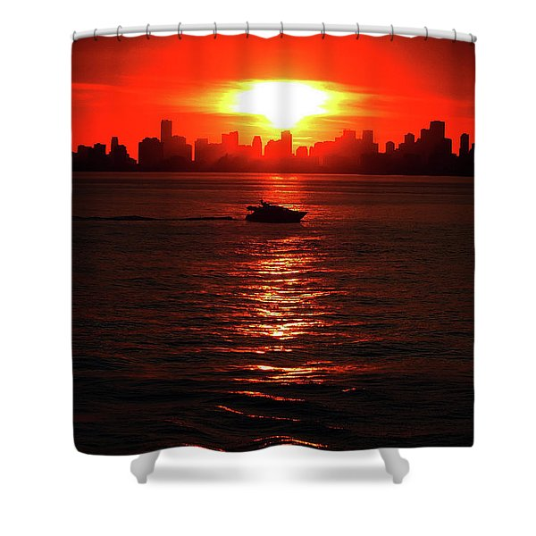 Nuclear Miami Sunset Shower Curtain