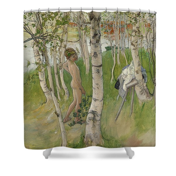 Nude Boy Among Birches Shower Curtain