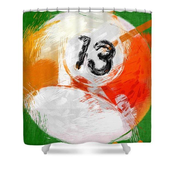 Number Thirteen Billiards Ball Abstract Shower Curtain by David G Paul