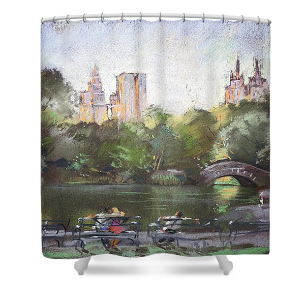 Nyc Resting In Central Park Shower Curtain