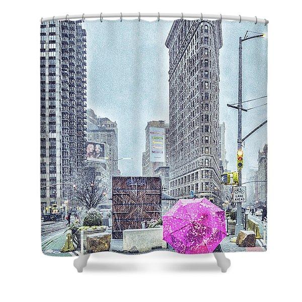 Nyc Snowy Scene Shower Curtain