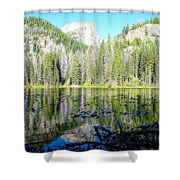 Nymph Lake And Flattop Mountain Shower Curtain