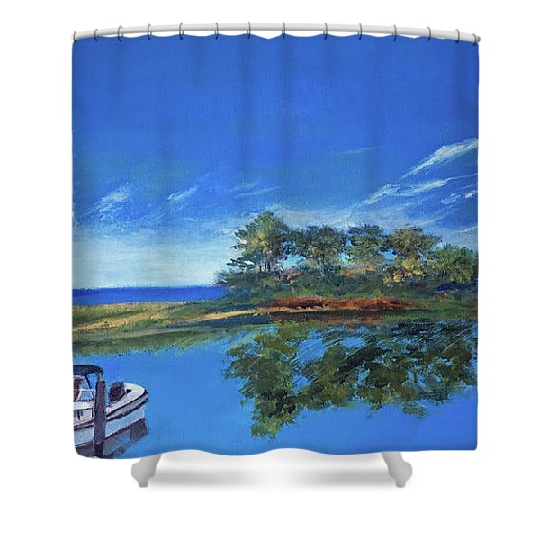 Oak Bluffs With Grady White Shower Curtain