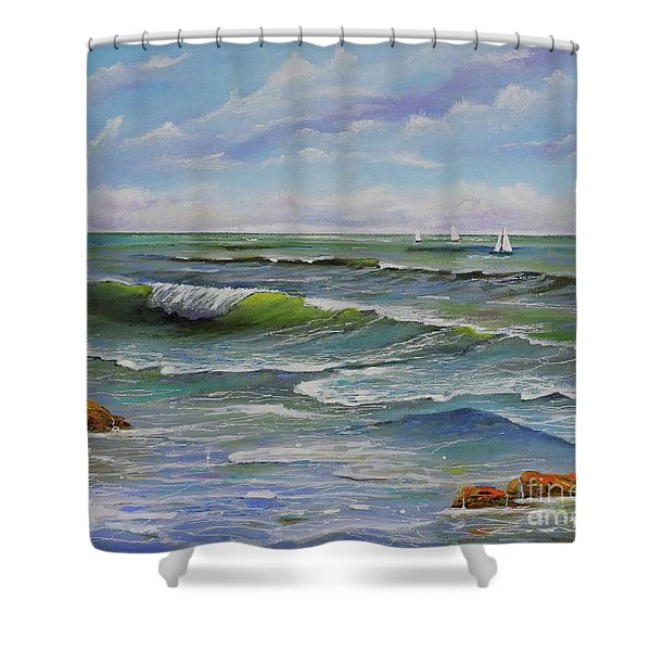 Shower Curtain featuring the painting Ocean Breeze by Mary Scott