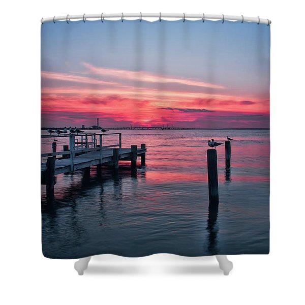 Ocean City Summer Sunset Shower Curtain