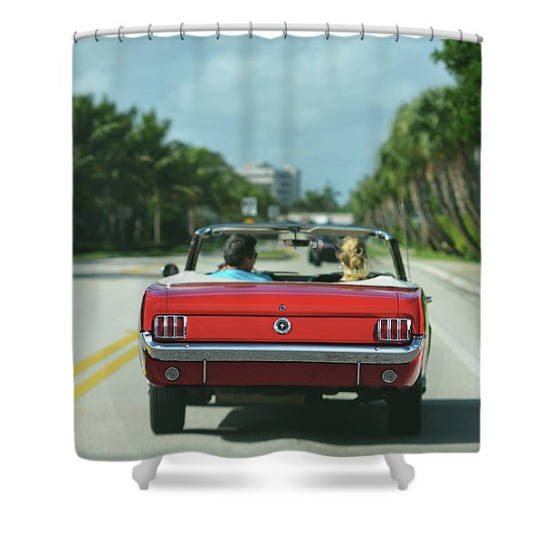 Ocean Drive - 1965 Mustang Shower Curtain