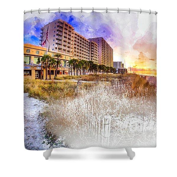 Ocean Drive Sunrise Watercolor Shower Curtain