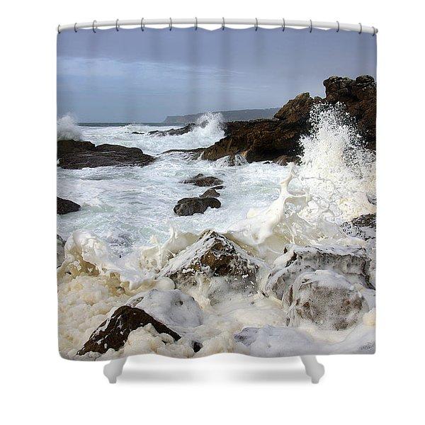 Ocean Foam Shower Curtain by Carlos Caetano