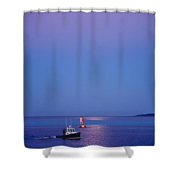 Ocean Moonrise Shower Curtain by Steve Gadomski