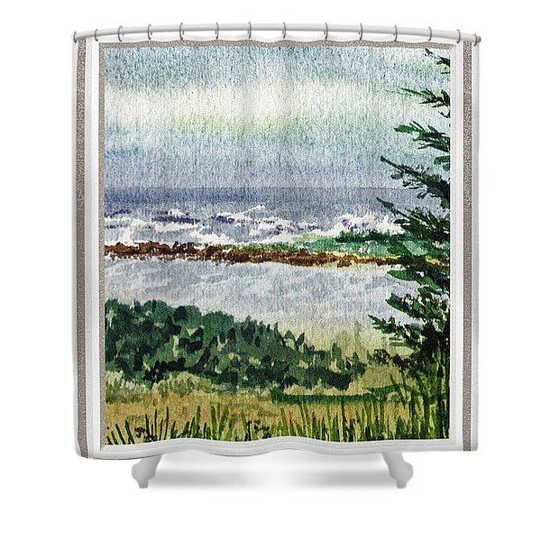 Ocean Shore Window View Shower Curtain