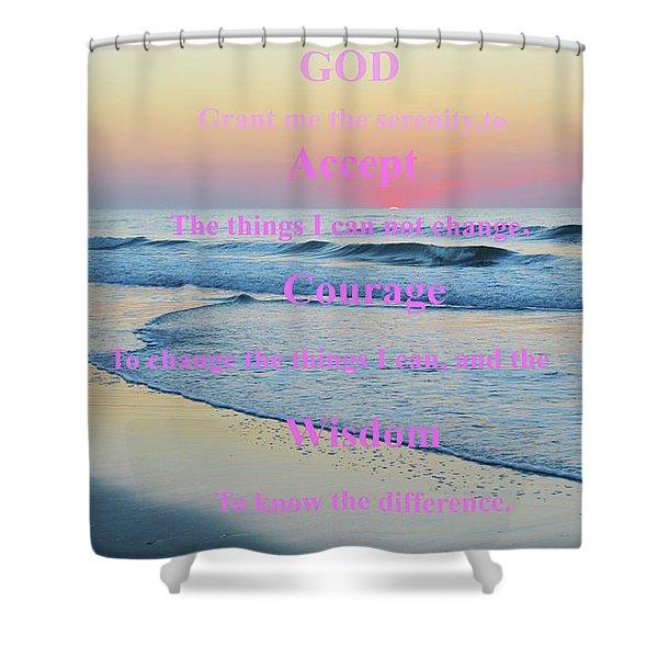 Ocean Sunrise Serenity Prayer Shower Curtain