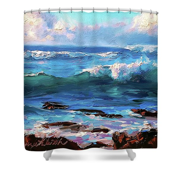 Coastal Ocean Sunset At Turtle Bay, Oahu Hawaii Beach Seascape Shower Curtain