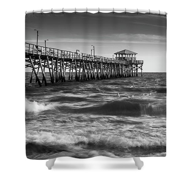 Shower Curtain featuring the photograph Oceana Ocean Crest Fishing Pier In Nc Panorama In Bw by Ranjay Mitra