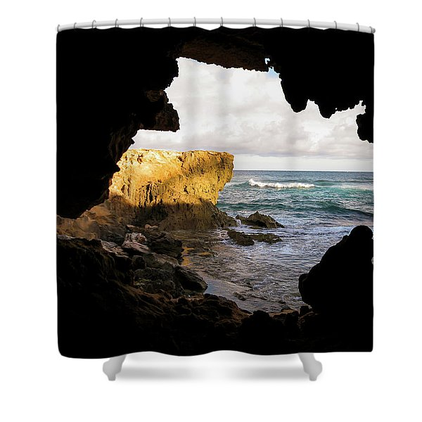 Oceanfront Cave Shower Curtain