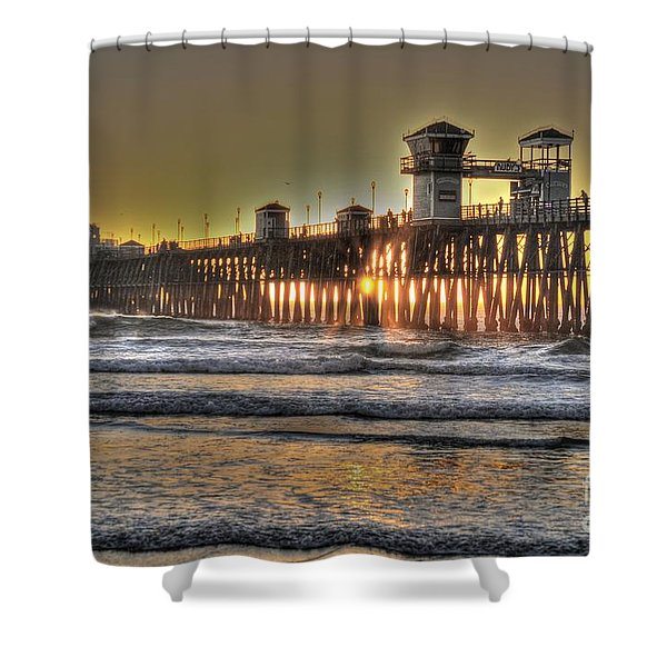 Oceanside Pier Hdr  Shower Curtain
