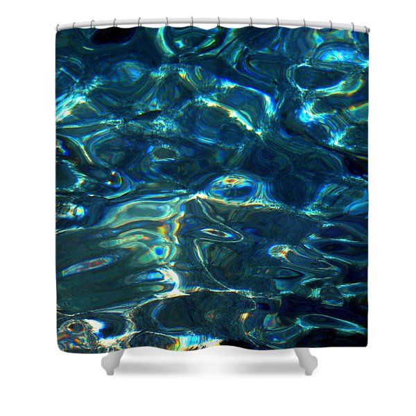 Ocean Water Reflections Island Santorini Greece Shower Curtain