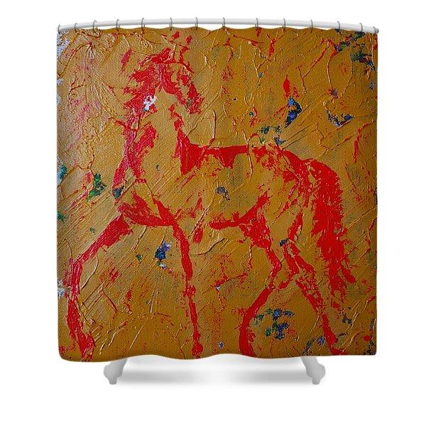 Ochre Horse Shower Curtain