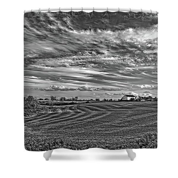 October Patterns Bw Shower Curtain
