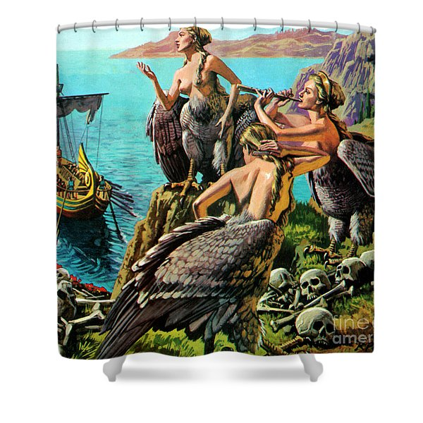 Odysseus And The Sirens Shower Curtain