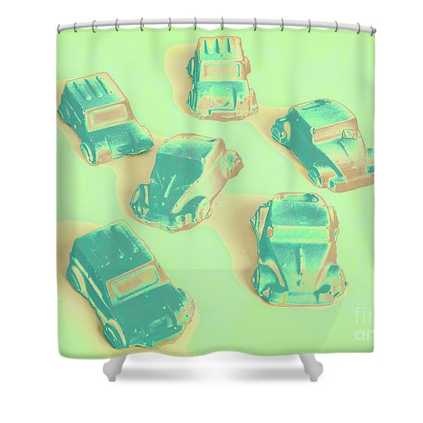 Off Road Retro Rally  Shower Curtain