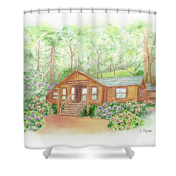 Office In The Park Shower Curtain