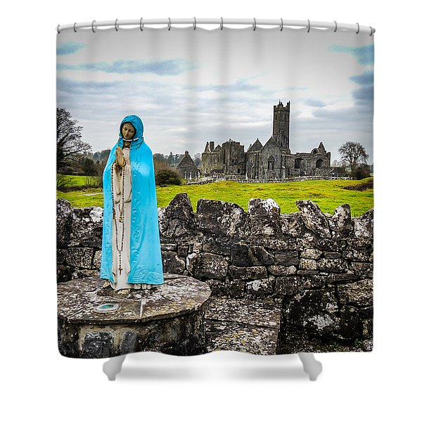 Official Greeter At Ireland's Quin Abbey National Monument Shower Curtain