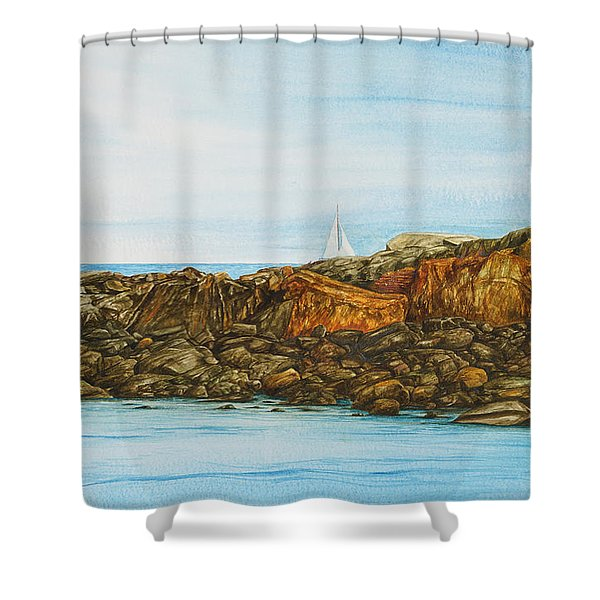 Ogunquit Maine Sail And Rocks Shower Curtain