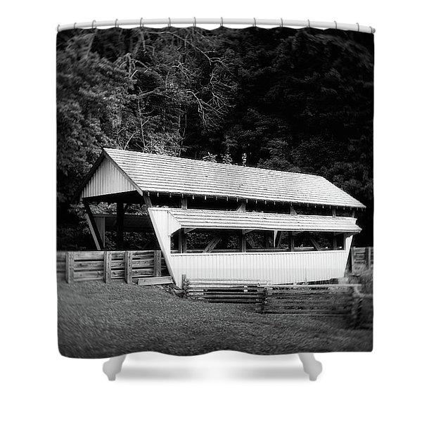 Ohio Covered Bridge In Black And White Shower Curtain
