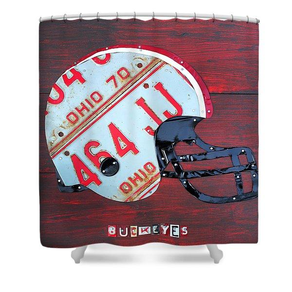 Ohio State Buckeyes Football Helmet Recycled Vintage License Plate Art Shower Curtain