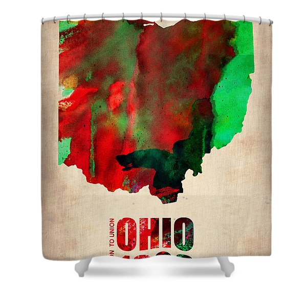 Ohio Watercolor Map Shower Curtain