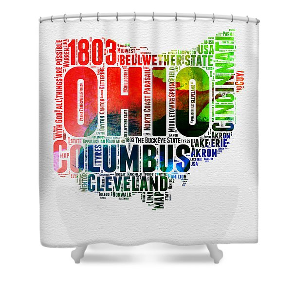 Ohio Watercolor Word Cloud Map  Shower Curtain