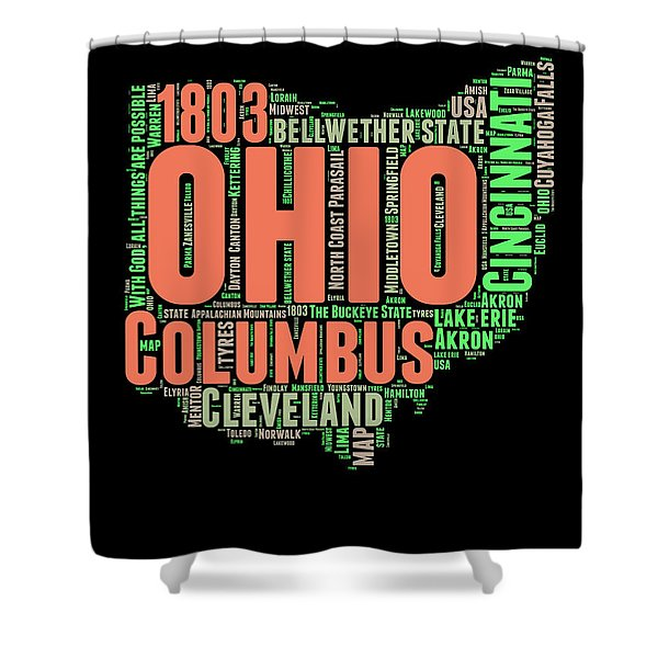 Ohio Word Cloud Map 1 Shower Curtain