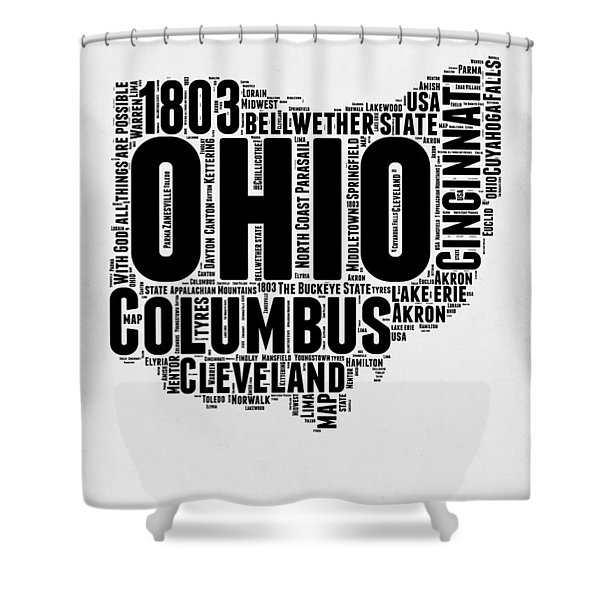 Ohio Word Cloud Map 2 Shower Curtain