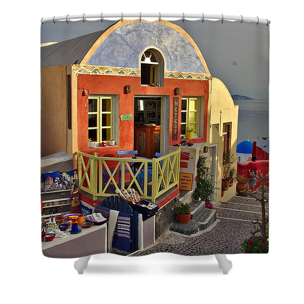 Shower Curtain featuring the photograph Oia Pub by Jeremy Hayden