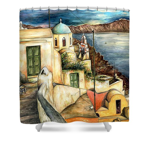 Oia Santorini Greece - Watercolor Shower Curtain