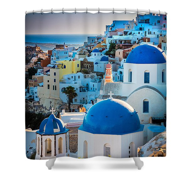 Oia Town Shower Curtain