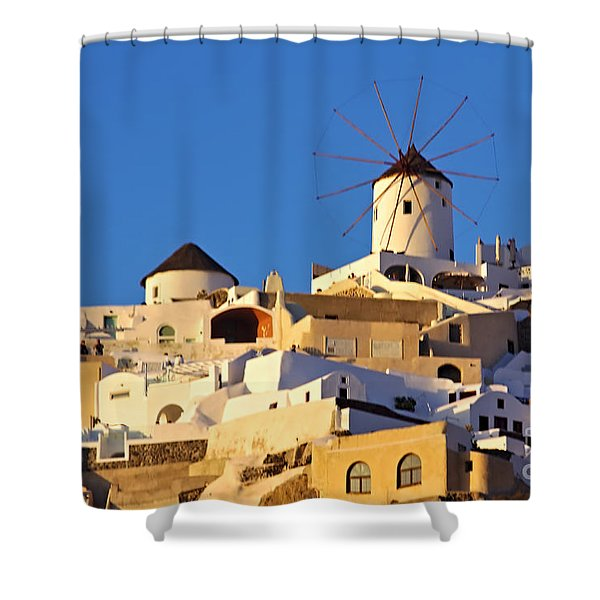 Shower Curtain featuring the photograph Oia Windmill by Jeremy Hayden