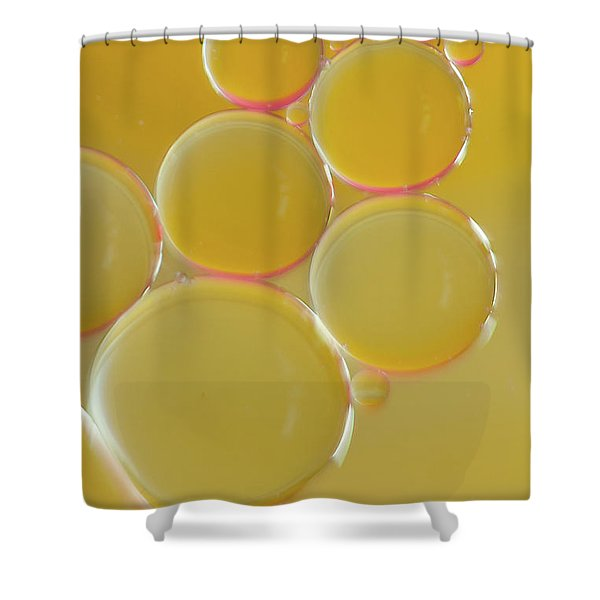 Oil Bubbles On Water Abstract Shower Curtain
