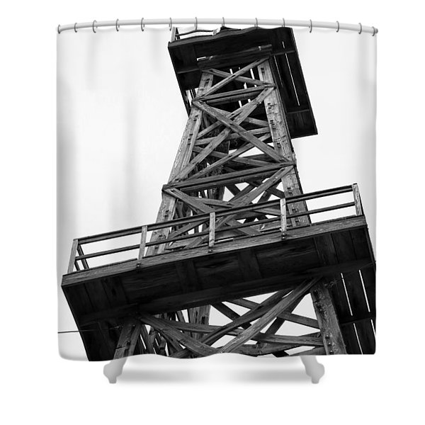 Oil Derrick In Black And White Shower Curtain