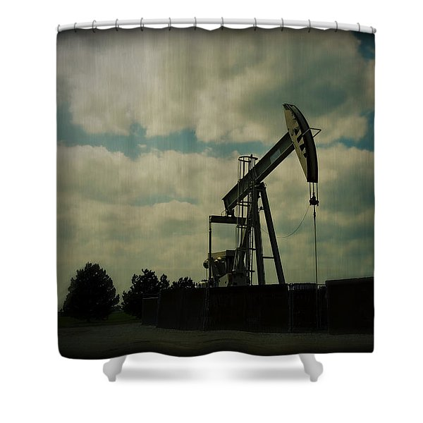 Oil Pumpjack Holga Shower Curtain