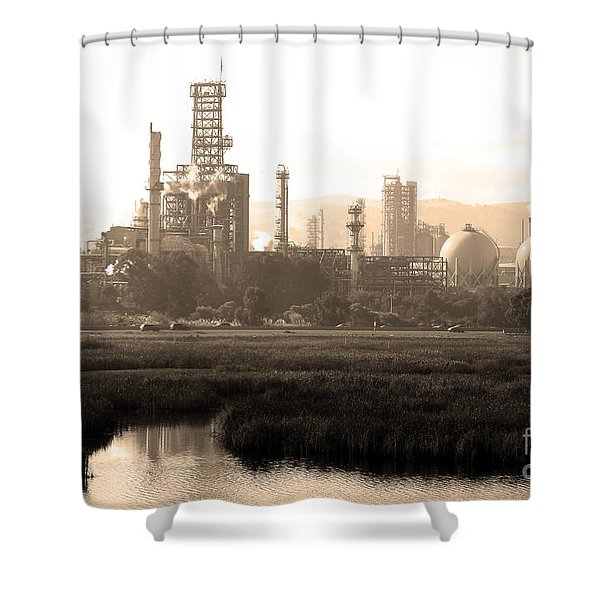 Oil Refinery Industrial Plant In Martinez California . 7d10364 . Sepia Shower Curtain