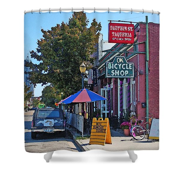 Ok Bicycle Yellow Sign Shower Curtain