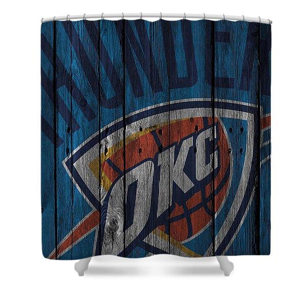 Oklahoma City Thunder Wood Fence Shower Curtain