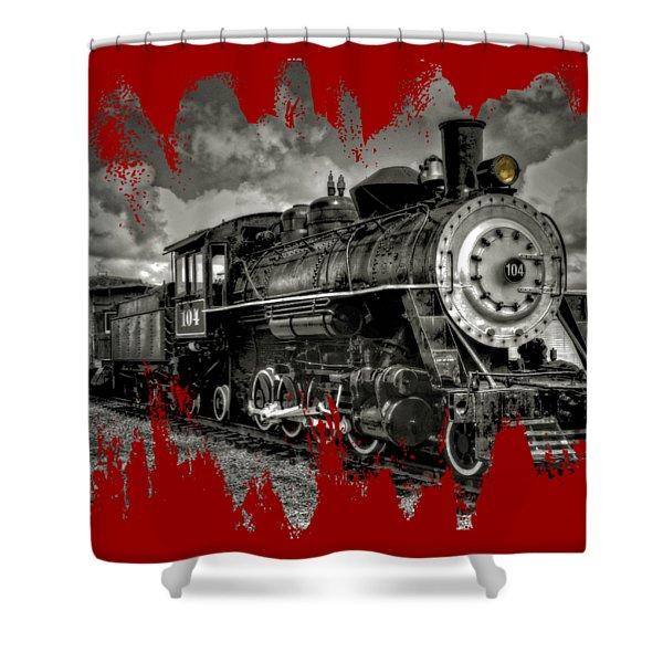 Old 104 Steam Engine Locomotive Shower Curtain