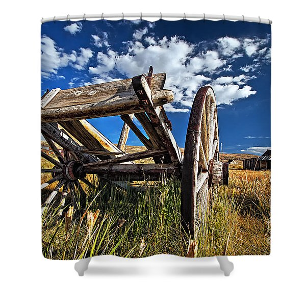 Old Abandoned Wagon, Bodie Ghost Town, California Shower Curtain