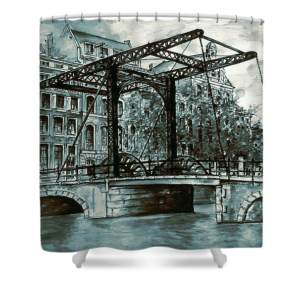 Old Amsterdam Bridge In Dutch Blue Water Colors Shower Curtain